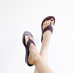 Chaps Brown Wedge Flip Flop Sandals